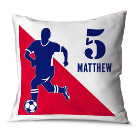 Soccer Throw Pillow Personalized Soccer Player Silhouette Guy