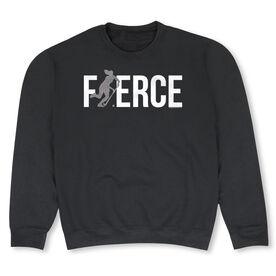 Field Hockey Crew Neck Sweatshirt - Fierce Field Hockey Girl with Silver Glitter
