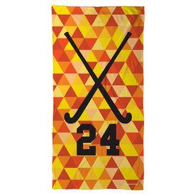 Field Hockey Beach Towel Personalized Sticks Color Triangles