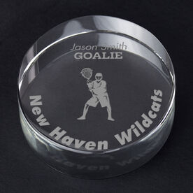 Guys Lacrosse Personalized Engraved Crystal Gift - Player Silhouette with Custom Text (Goalie)