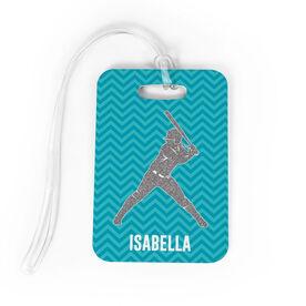 Softball Bag/Luggage Tag - Personalized Faux Glitter Chevron Pattern