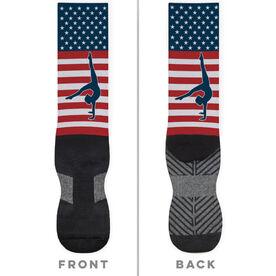 Gymnastics Printed Mid-Calf Socks - USA Stars and Stripes (Girl Gymnast)
