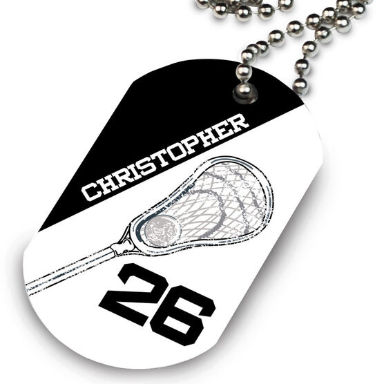 Lacrosse Printed Dog Tag Necklace Personalized Lacrosse Stick Head