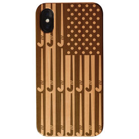 Field Hockey Engraved Wood IPhone® Case - American Flag