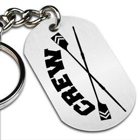 Crew Crossed Oars Printed Dog Tag Keychain