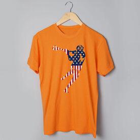 Guys Lacrosse Short Sleeve T-Shirt - American Flag Silhouette