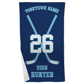 Hockey Beach Towel Personalized Team Crossed Sticks
