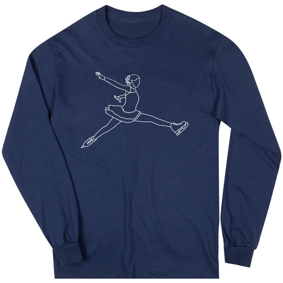 Figure Skating Long Sleeve T-Shirt - Figure Skating Player Sketch