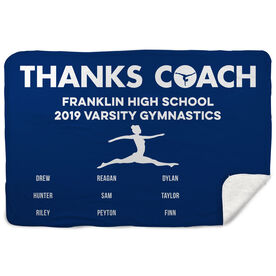 Gymnastics Sherpa Fleece Blanket - Thanks Coach (Horizontal)