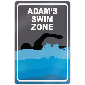 "Swimming 18"" X 12"" Aluminum Room Sign Personalized Swim Zone Guy"