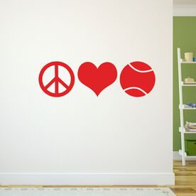 Tennis Removable ChalkTalkGraphix Wall Decal Peace Love Tennis