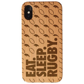 Rugby Engraved Wood IPhone® Case - Eat. Sleep. Rugby.