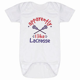 Guys Lacrosse Baby One-Piece - Apparently, I Like Lacrosse
