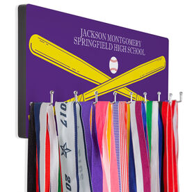 Baseball Hooked on Medals Hanger - Personalized Text With Crossed Bats