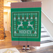 Hockey Premium Blanket - Hockey Christmas Knit
