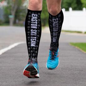Skiing Printed Knee-High Socks - Team Name