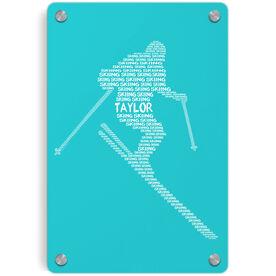 Skiing Metal Wall Art Panel - Personalized Skiing Words