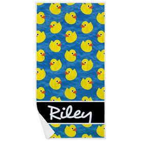 Swimming Premium Beach Towel - Personalized Rubber Ducky