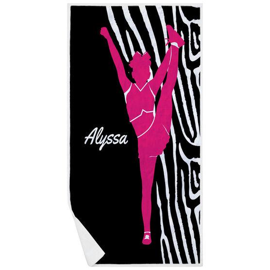 Cheerleading Premium Beach Towel - Girl with Zebra Stripes