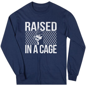 Baseball Tshirt Long Sleeve Raised in a Cage Baseball