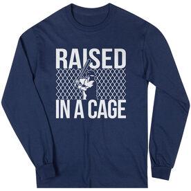 Baseball Tshirt Long Sleeve Raised in a Cage Baseball