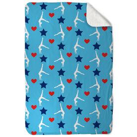 Gymnastics Sherpa Fleece Blanket - Stars and Hearts Gymnast Pattern