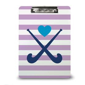 Field Hockey Custom Clipboard Field Hockey Sticks with Heart and Stripes