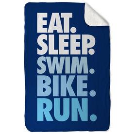 Triathlon Sherpa Fleece Blanket - Eat. Sleep. Swim. Bike. Run. Vertical