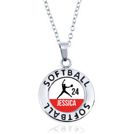 Softball Circle Necklace - Pitcher Silhouette Name and Number