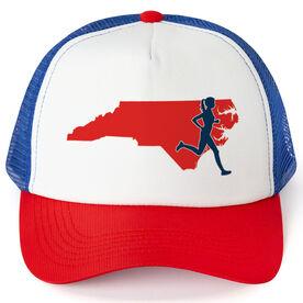 Running Trucker Hat - North Carolina Female Runner