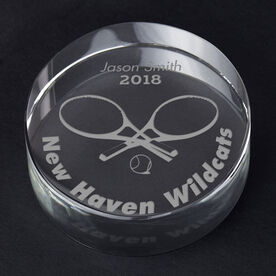 Tennis Personalized Engraved Crystal Gift - Player Silhouette with Custom Text (Player)