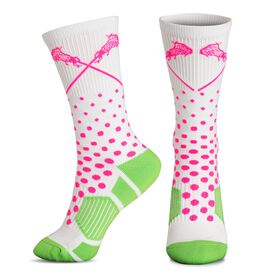 Girls Lacrosse Woven Mid-Calf Socks - Sundae (White/Pink/Green)