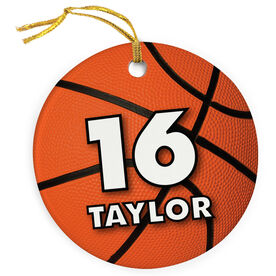 Basketball Porcelain Ornament Personalized Big Number With Basketball