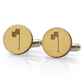 Golf Engraved Wood Cufflinks Pin Flag