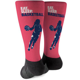 Basketball Printed Mid-Calf Socks - Eat Sleep Basketball Girl