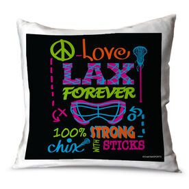 Girls Lacrosse Throw Pillow Peace Love Lax Forever