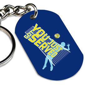 Volleyball Printed Dog Tag Keychain You Just Got Served