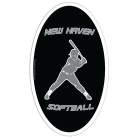 Softball Oval Car Magnet Personalized Batter