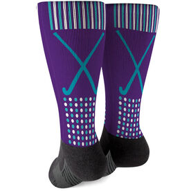 Field Hockey Printed Mid-Calf Socks - Crossed Sticks with Pattern