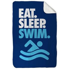 Swimming Sherpa Fleece Blanket - Eat. Sleep. Swim. Vertical