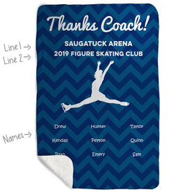 Figure Skating Sherpa Fleece Blanket - Personalized Thanks Coach Chevron