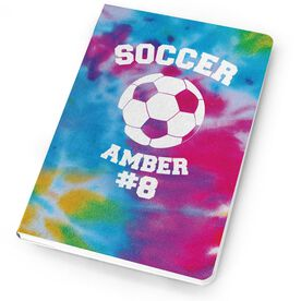 Soccer Notebook - Tie Dye Pattern with Soccer Ball