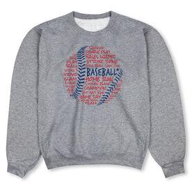 Baseball Crew Neck Sweatshirt - Baseball Words