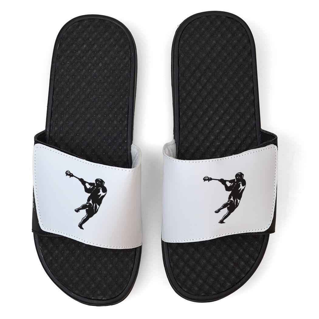 White Guys Lacrosse Slide Sandals - Lax Jumpshot Silhouette