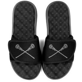 Girls Lacrosse PR SOLES® Adjustable Strap Recovery Slide Sandals - Crossed Sticks