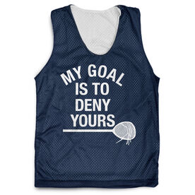 Girls Lacrosse Racerback Pinnie - My Goal Is To Deny Yours Goalie Stick