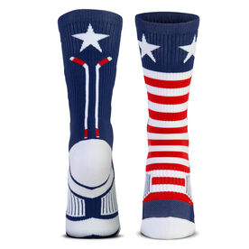 Hockey Woven Mid-Calf Socks - Patriotic