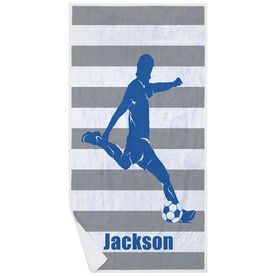 Soccer Premium Beach Towel - Stripes with Guy Player