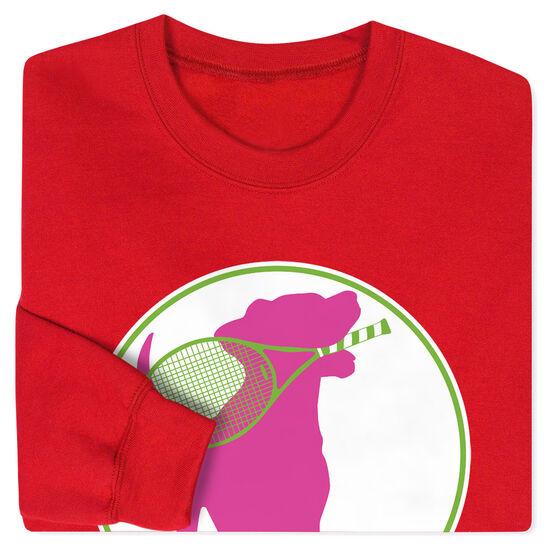 Tennis Crew Neck Sweatshirt - Tennis Dog with Racket