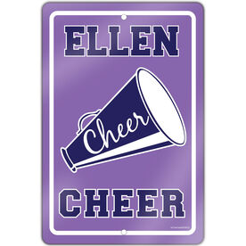 """Cheerleading 18"""" X 12"""" Aluminum Room Sign Personalized Cheer Sign"""